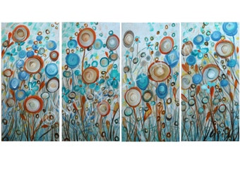 BLUE IVORY Whimsical Floral Painting Poppy Flowers Aqua Cream Rust Turquoise Artwork by Luiza Vizoli 48x24