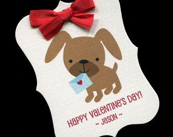 20 Valentine Tags - Personalized Tags - Valentines Day - Gift Tags - Cookie Tags - Bag Tags - Valentine Candy Tags - Puppy Blue Envelope