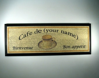 PERSONALIZED FRENCH CAFE Sign