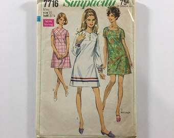 Simplicity 7716 Vintage 1968 Miss Size 10 Bust 32.5 Dress A Line Sewing Pattern