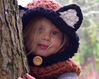 Chunky Hooded Fox Cowl  Crochet Hoodie, Chunky Crochet Hat, Fox Hoodie, Animal Hat, Hooded Scarf,