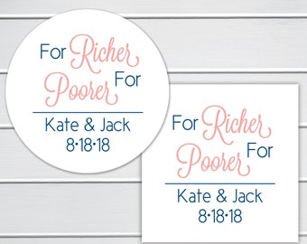 For Richer For Poorer Stickers, Lottery Ticket Wedding Labels, Customizable Wedding Stickers (#217-1)