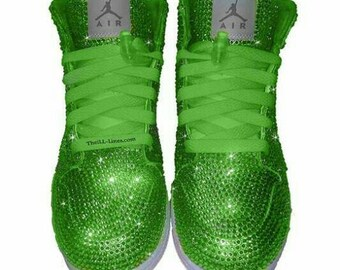 Custom Shoes, Nike  Swarovski Nike Shoes,  Rhinestone Shoes, Lime Green Nike, Trisha Paytas  Nike Shoes, Custom Nike Shoes, Nike Jordan Shoe