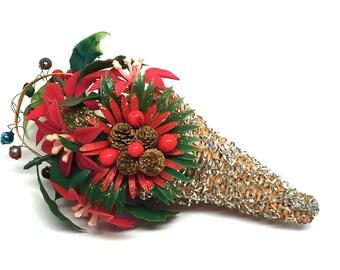 Vintage Ornament, Mesh Wrapped, Basket,Cornucopia,Horn of Plenty, Poinsettia,Holly, Pinecone,Mercury Glass Beads, 1950