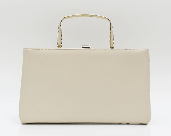 Vintage 1950s Ivory Leatherette Pocketbook Handbag