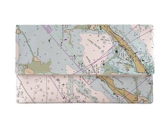 FL: Islamorada, FL Nautical Chart Clutch, Map Clutch Bag, Map Purse
