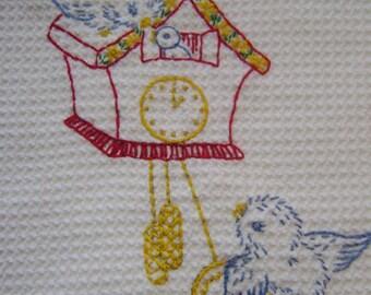 Bluebird and Cuckoo Clock Towel