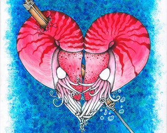 the Lovers, two nautilus's cuddling into a heart and being harpooned art print
