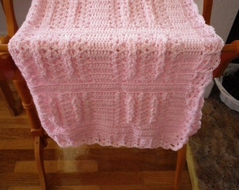 Pink Crocheted Baby Afghan