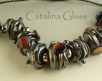 SRA LAmpwork/lampwork beads/beads/steampunk/black/metallica/ jewelry supplies/nuggets/special reserved order