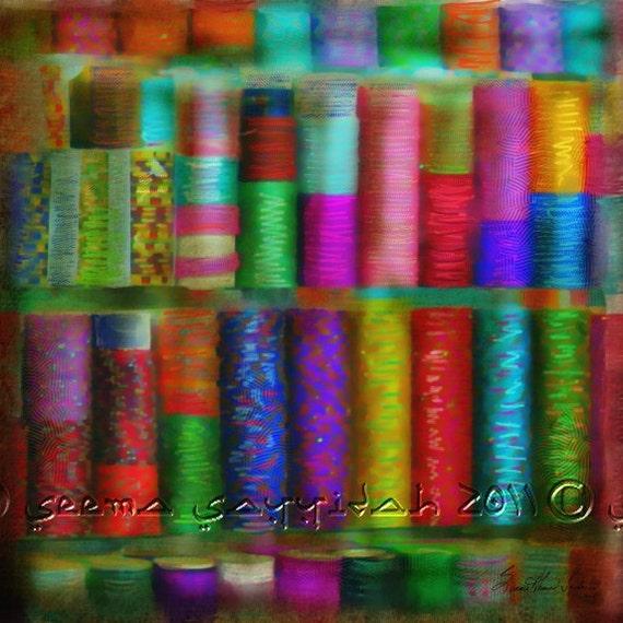 BANGLES COLOR- Mixed Media, Giclee, Ethnic, Eid, Indo-Pak,Canvas, Vibrant, Multicolored, Boho, Gypsy, Seema Z