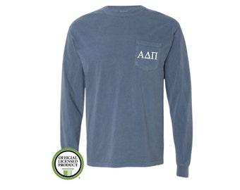 Alpha Delta Pi Comfort Colors LONG Sleeve Pocket Tee, Greek gift, Sorority gift, Big and Little,  Alpha Delta Pi, ADPi