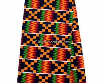 Wholesale African Kente fabric, 6 yards/ Red Wedding Kente print/ Kente / Kente Cloth/ Prom dress fabric/ African Fabric / KF309