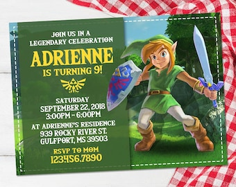 Zelda invitation etsy zelda invitation legend of zelda birthday gaming party nintendo link invites zelda stopboris Gallery