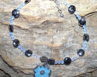 Ankle Bracelet - Turquoise flower -  opalite