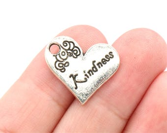 5 Pcs Kindness Heart Charms Antique Silver Tone 22x20mm - YD0046