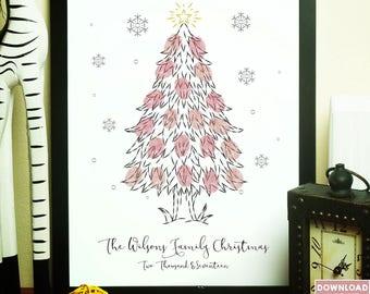 christmas thumbprint tree christmas gift ideas family christmas christmas keepsake christmas memento - Xmas Ideas
