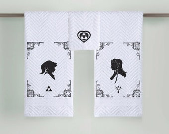 Zelda and Link silhouette Bathroom Towels