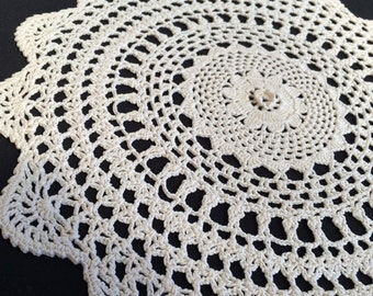 Round Vintage Ivory/Cream Cotton Lace Doily. Round Crocheted Doily. RBT1303