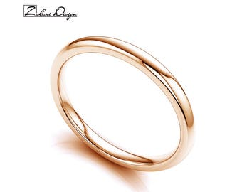 Solid 14K Rose Gold 2mm Wedding Band, Polished Domed, Anniversary or Wedding Band, Comfort Fit Ring, Thick Classic Wedding Band