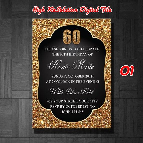 Invitaci n de cumplea os 60 hombre invitaci n cumplea os 60 - Decoracion cumpleanos adultos 60 anos ...