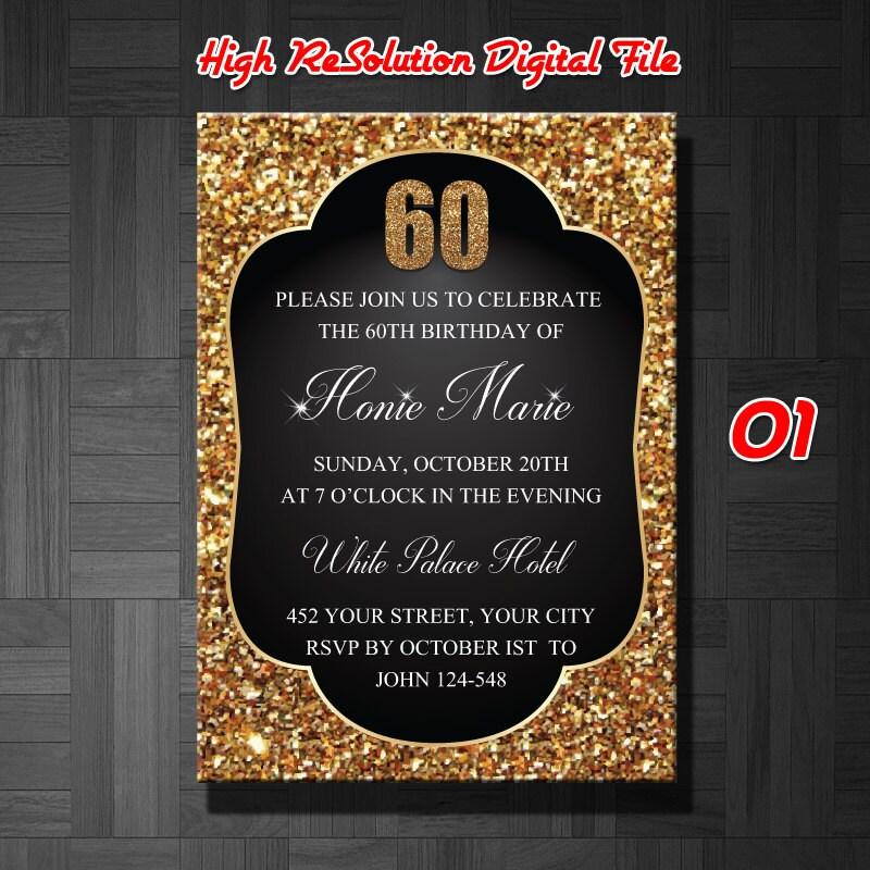 60th Birthday Invitation Male 60th Birthday Invitation60th