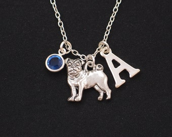 pug necklace, sterling silver filled, initial necklace, birthstone necklace, silver pug dog charm on silver chain,dog lover gift,pug jewelry
