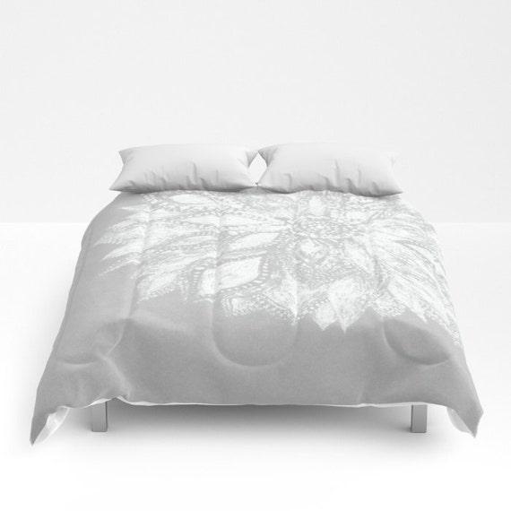 Grey white flower comforter grey white comforter gray white mightylinksfo