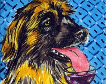 Leonberger at the Wine Bar Dog Art Print