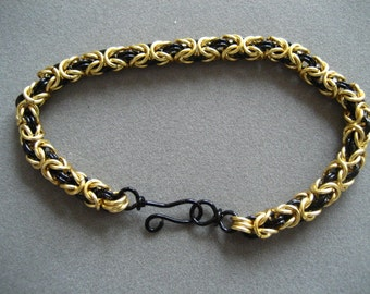 KIT Chainmaille Bracelet Kit -- Black and Non Tarnish Gold Byzantine Weave