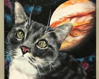 "12""x12"" custom handmade cat pet lover portrait acrylic canvas gift wall decor artwork"