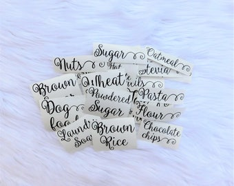 Pantry Label Kitchen Canister Pantry Decal Custom Decal Canister Label Kitchen Label Organization Kitchen Decal Custom Pantry Labels Decal