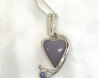 Lovely Little Fluorite and Tanzanite Silver Heart Pendant Necklace