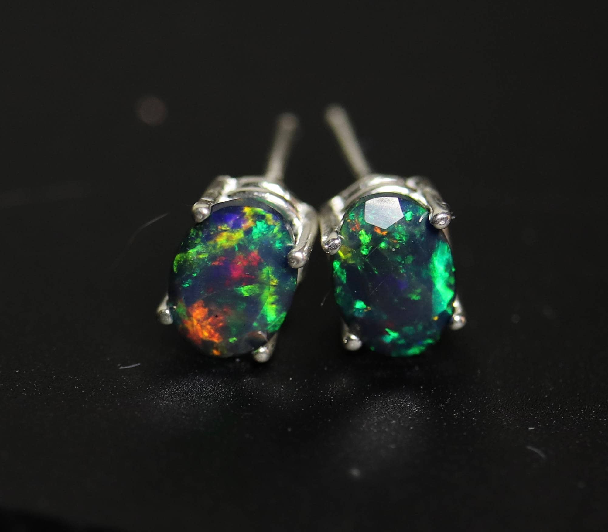pierced opal earrings piercing stud pin real silver vintage sterling