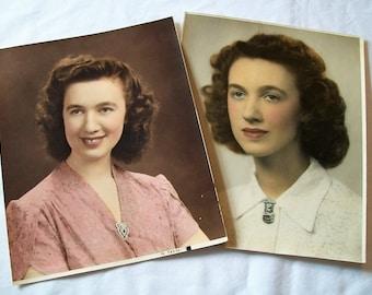 Vintage Colored Photos, Old  photos, womans Portrait, Pictures, Set of 2 Pictures