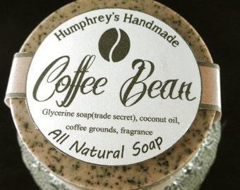 COFFEE BEAN Glycerin Soap, Exfoliating Coffee Grounds Soap, Coffee Scent, Mechanics Soap All Natural Coconut Oil Brown Round Soap Puck Brown