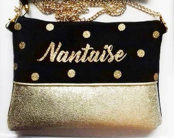 Handbag / clutch with chain-town-Nantes - personalized - gift for wife - Christmas gift