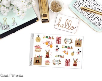 CHRISTMAS DECO Paper Planner Stickers