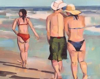 Beach Walk, Beach People, Original Oil Painting by Bridget Hobson, 6x6 inch, free domestic shipping