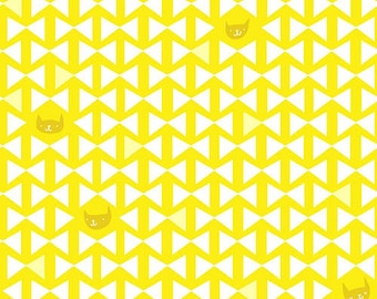 Catnap - Cat Bowtie Triangle Yellow by Lizzy House from Andover
