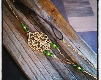 HeadBand jewelry head vintage filigree gold and green beads