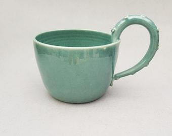 Tentacle mug, green -- Handmade stoneware ceramics