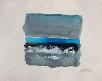 "Original mixed media painting, watercolor/acrylic/ink art, ocean,water, beach painting on 9"" x 12"" watercolor paper. Beach decor."