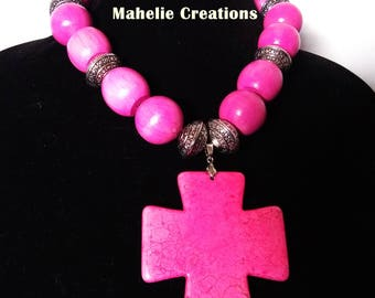 Pink chunky necklace, pink statement necklace, tribal ethnic necklace, bold wood bead necklace,  cross pendant handmade necklace for women