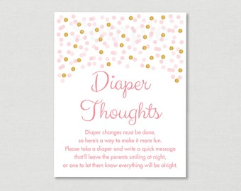 Blush Pink & Gold Diaper Thoughts Game / Glitter Baby Shower / Glitter Confetti / Late Night Diaper Game / INSTANT DOWNLOAD A161