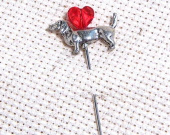 Counting Pin Marking Pin Jewelry Quality Dachshund Dog Pewter with Crystal Heart 1 5/8""