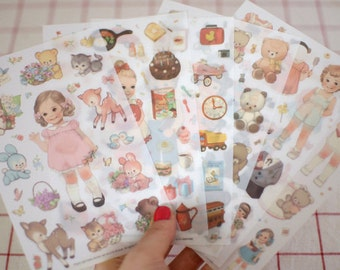 PVC Doll Mate Sticer Set - Deco Stickers - Diary Stickers - 6 sheets