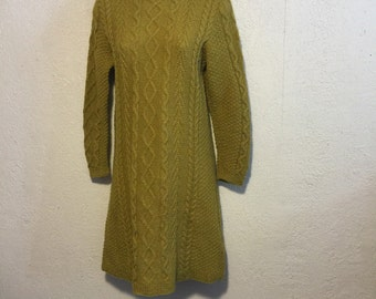 Vintage Avocado Green Cable Knit Dress