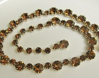 Antique 1950's Weiss Brown Crystal Necklace