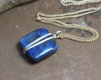 Lapis Necklace Silver Wire Wrapped Blue Gemstone Necklace Sterling Silver Filled or Gold Blue Necklace Rustic Jewelry